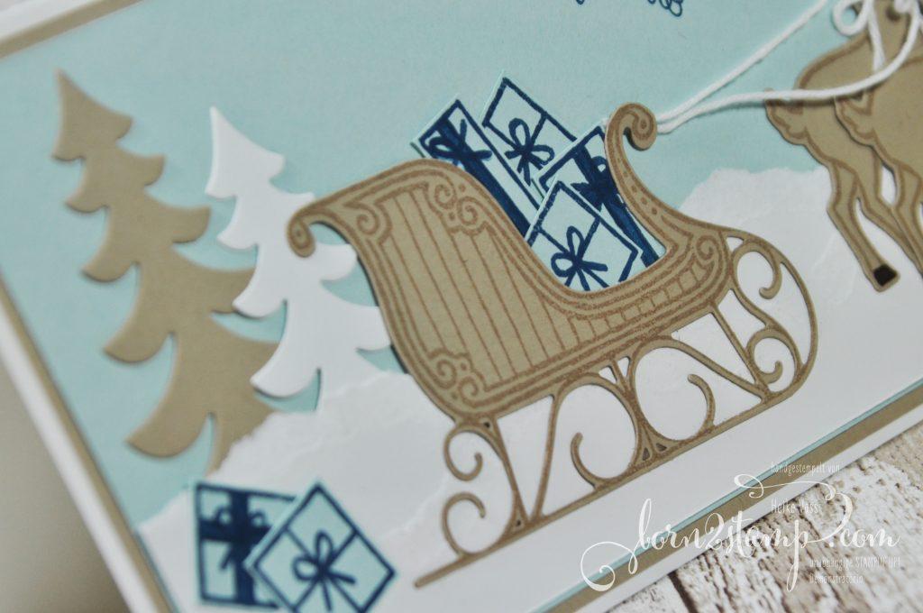 born2stamp STAMPIN' UP! Weihnachtskarte - Weihnachtsschlitten