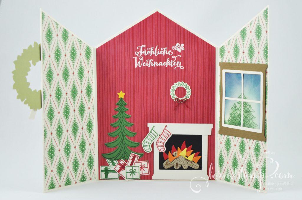 born2stamp STAMPIN' UP! IN{K}SPIRE_me Weihnachtskarte - Weihnachtsschlitten - Fröhliche Weihnachten - Ballon Framelits - Framelits Am Kamin