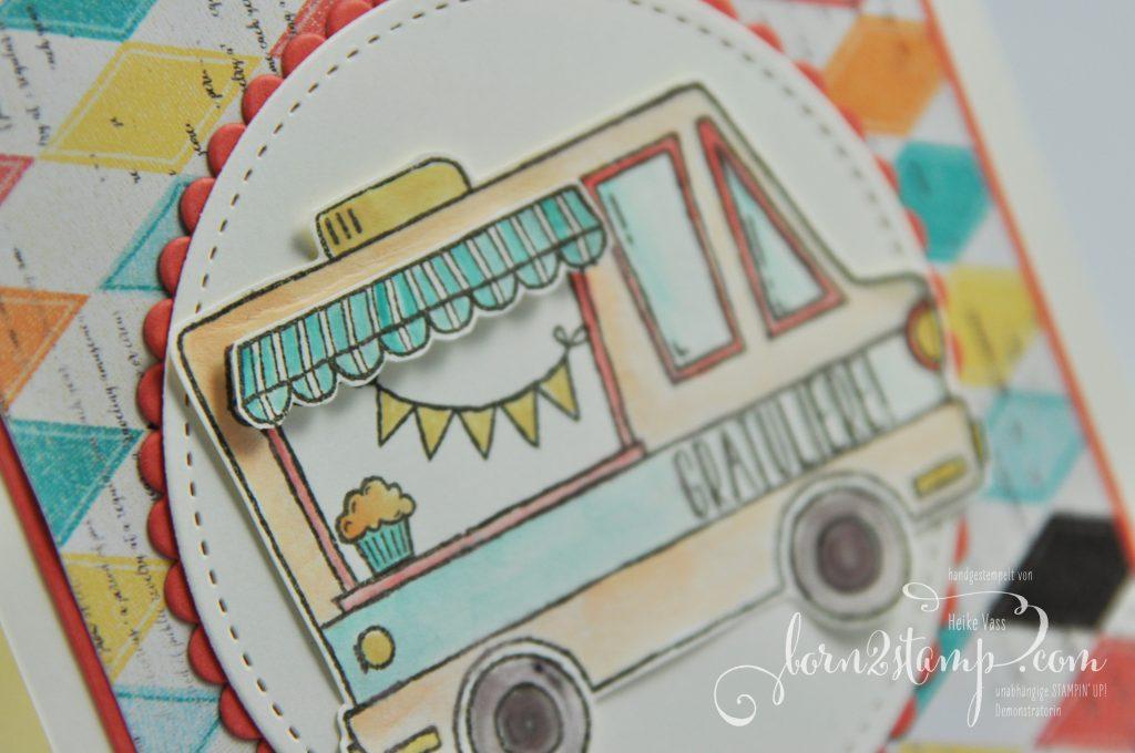 born2stamp STAMPIN' UP! Grusskarte - DSP Cupcakes und Karussells - Lecker-Laster - Klare Aussage