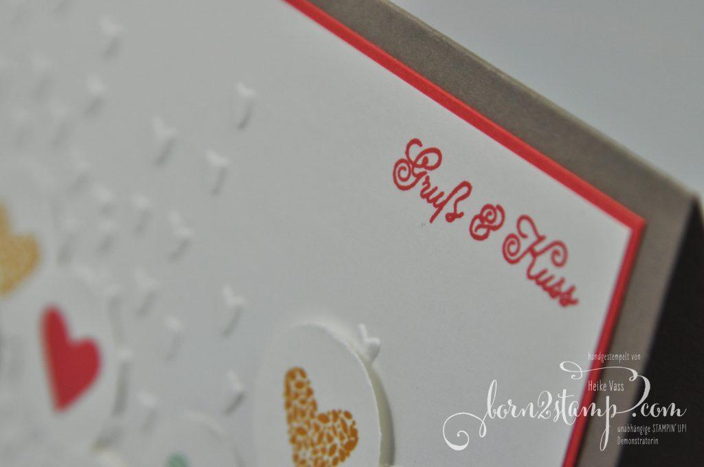 born2stamp STAMPIN' UP! IN{K}SPIRE_me Valentinstag - Valentins-Special - Mit Gruss und Kuss - Praegeform Bluetenregen - Leinenband