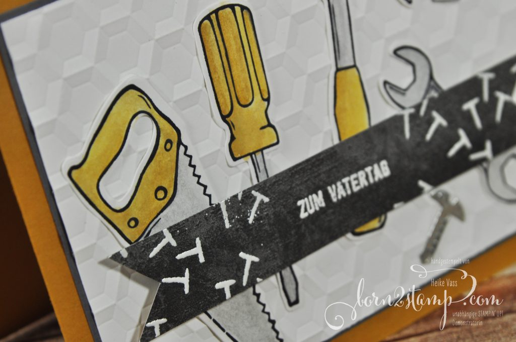 born2stamp STAMPIN' UP! Hammer - Framelits Werkzeugkasten - DSP Unvergleichlich urban - Big Shot Sechseck - Aquapainter