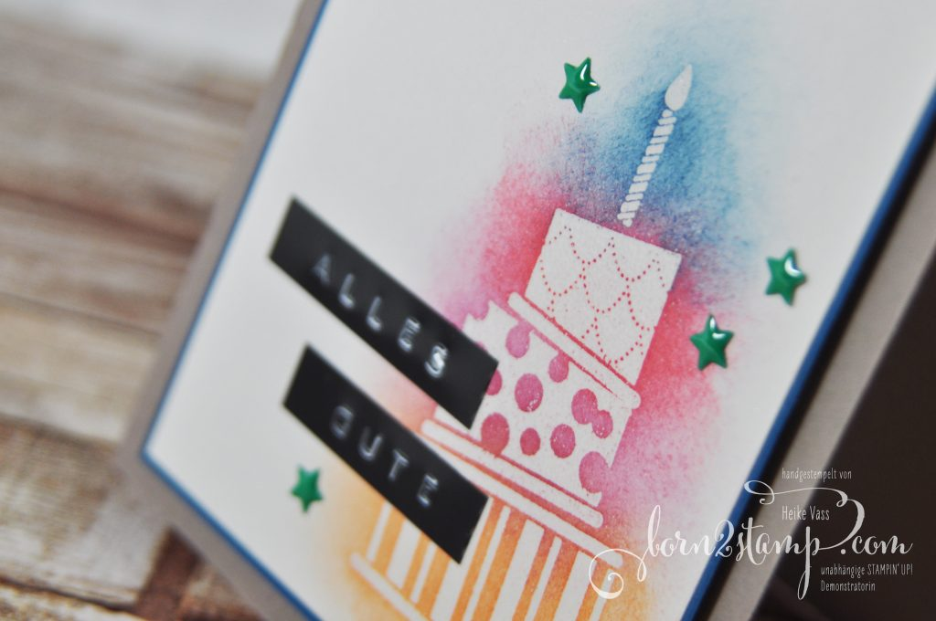 born2stamp STAMPIN' UP! Stamping Technique 101 - Geburtstagskarte - Sponging - Cake Crazy - Lackakzente - InColor
