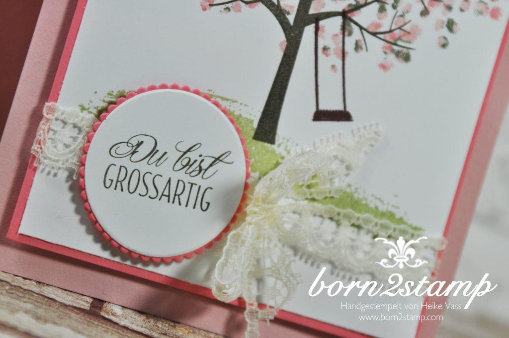 born2stamp STAMPIN' UP! Stamping Technique 101 - Thumping - Baum der Freundschaft - Fuer Freunde - Spitzenband