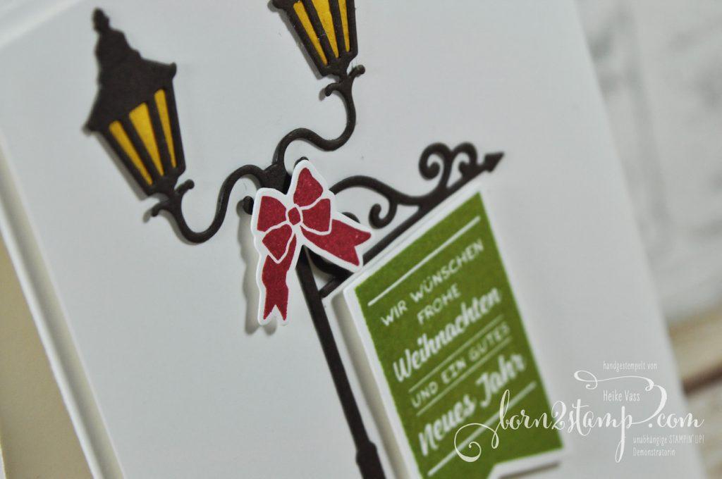born2stamp STAMPIN' UP! Bloghop Weihnachtskarte - Weihnachten im Lichterschein - Thinlits Weihnachtslaterne