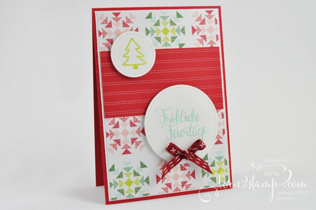 born2stamp STAMPIN' UP! IN{K}SPIRE_me Weihnachtskarte - Malerische Weihnachten - Framelits Stickmuster - DSP Weihnachtsquilt - Geschenkband Kreuzstich