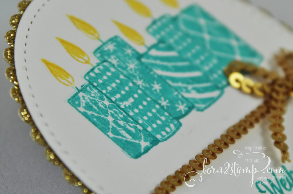 born2stamp STAMPIN' UP! INKSPIRE_me - Weihnachtskarte - Freude im Advent - Glitzerpapier - Paillettenband