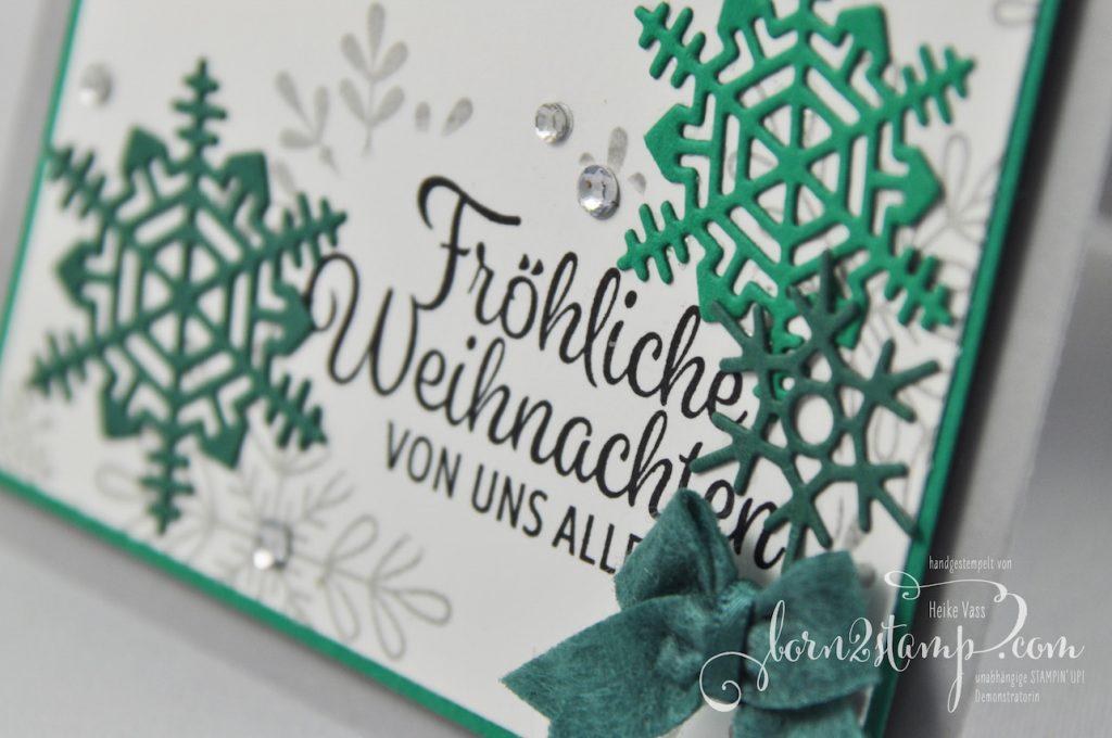 born2stamp STAMPIN' UP! INKSPIRE_me Weihnachtskarte - Winterwunder - Thinlits Aus jeder Jahreszeit - Framelits Stickmuster