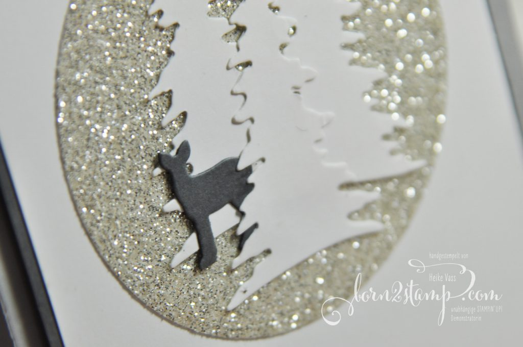 born2stamp STAMPIN' UP! Workshop Weihnachtskarte - Thinlits Festtagsdesign - Big Shot - Weihnachten daheim - Glitzerpapier