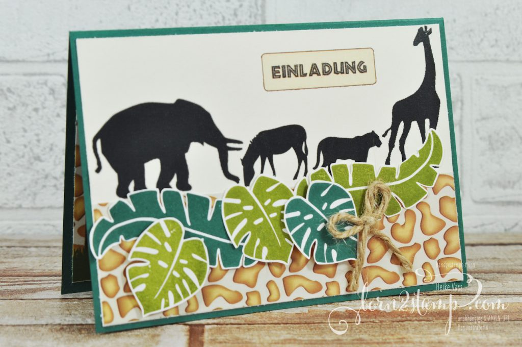 born2stamp STAMPIN' UP! Einladung Dschungelparty - Pop of Paradise - Juteschnur