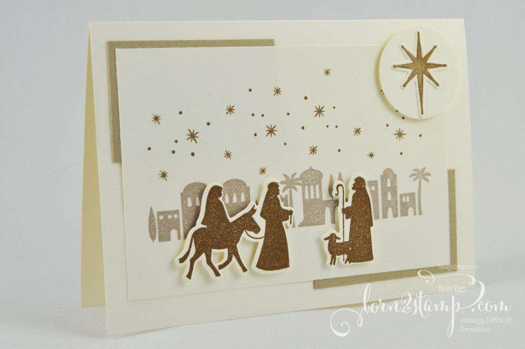 born2stamp STAMPIN' UP! INKSPIRE_me - Weihnachtskarte - Heilige Nacht - Edgelits Bethlehem - Wink of Stella