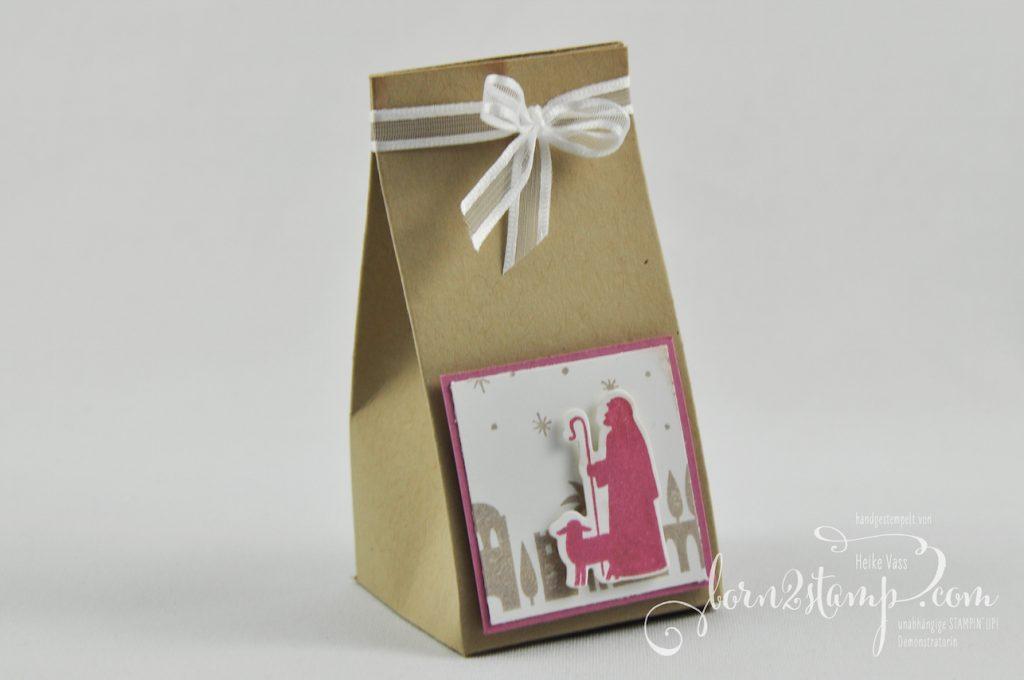 born2stamp STAMPIN' UP! IN{K}SPIRE_me Weihnachts Special Geschenke - Stille Nacht - Bethlehem - Minischachteln - Geschenkband Metallic-Kante - Buchsbaumkranz