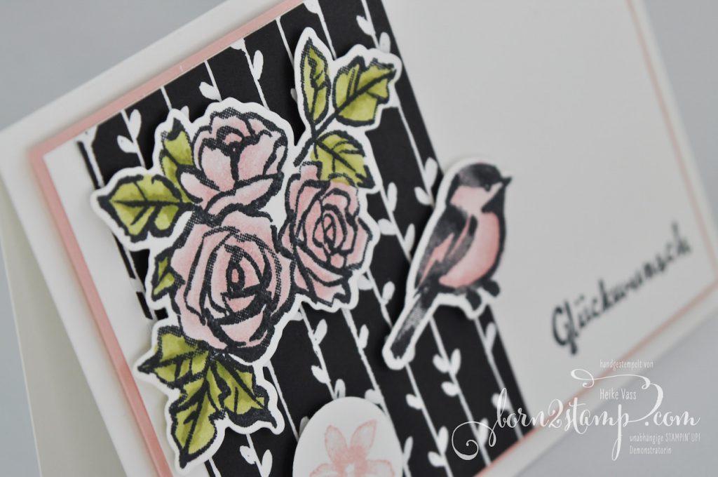 born2stamp STAMPIN' UP! IN{K}SPIRE_me Geburtstagskarte - DSP Blütenfantasie - Blütentraum - Thinlits Blüten Blätter Co
