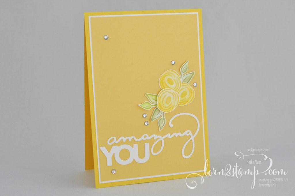 born2stamp STAMPIN' UP! Geburtstagskarte - Sale-a-bration - Thinlits Celebrate you - Alle meine Geburtstagsgruesse - Aquapainter