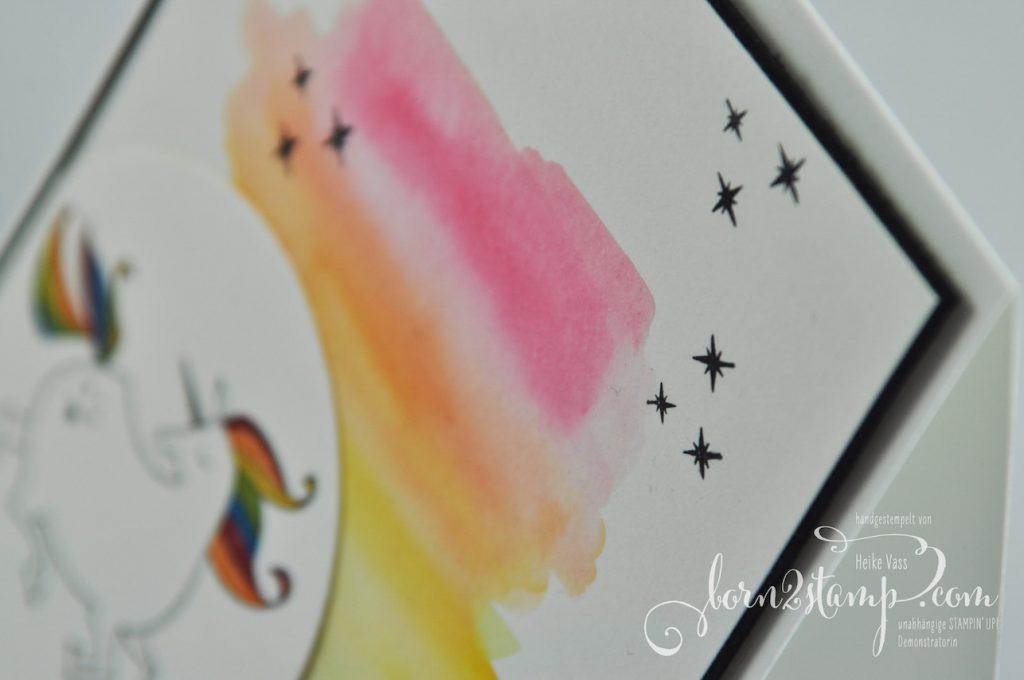 born2stamp STAMPIN' UP! INKSPIRE_me Geburtstagskarte - Zauberhafter Tag - Seidenglanzpapier - Wink of Stella - Wassertankpinsel
