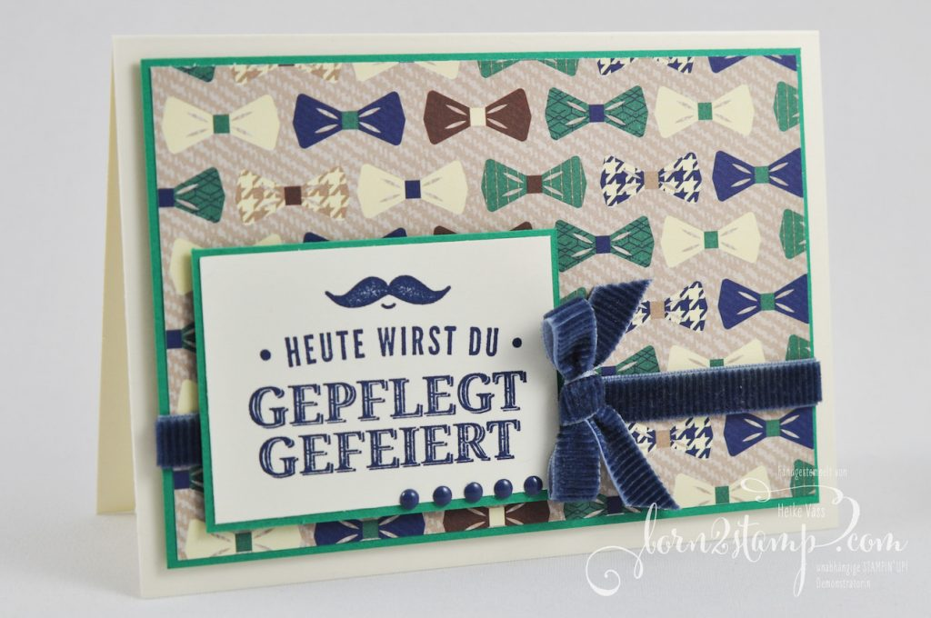 born2stamp STAMPIN' UP! IN{K}SPIRE_me - Geburtstagskarte - Gruss nach Mass - Kordband - DSP Ganz Gentleman