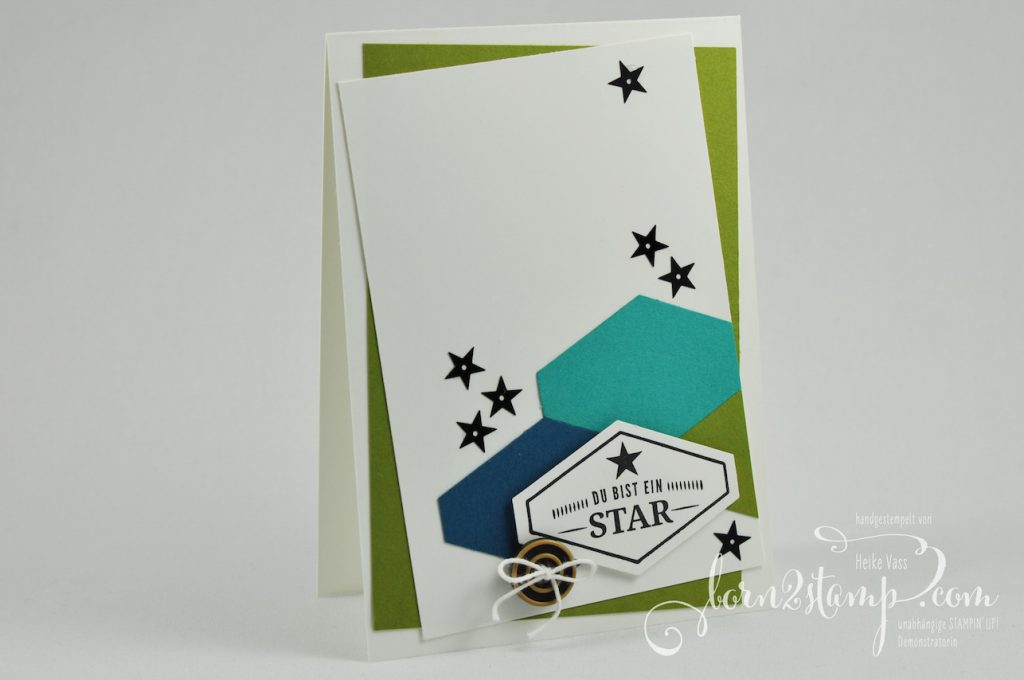 born2stamp STAMPIN' UP! IN{K}SPIRE_me - Geburtstagskarte - Gruss nach Mass - Pailletten - Knoepfe Ganz Gentlemen