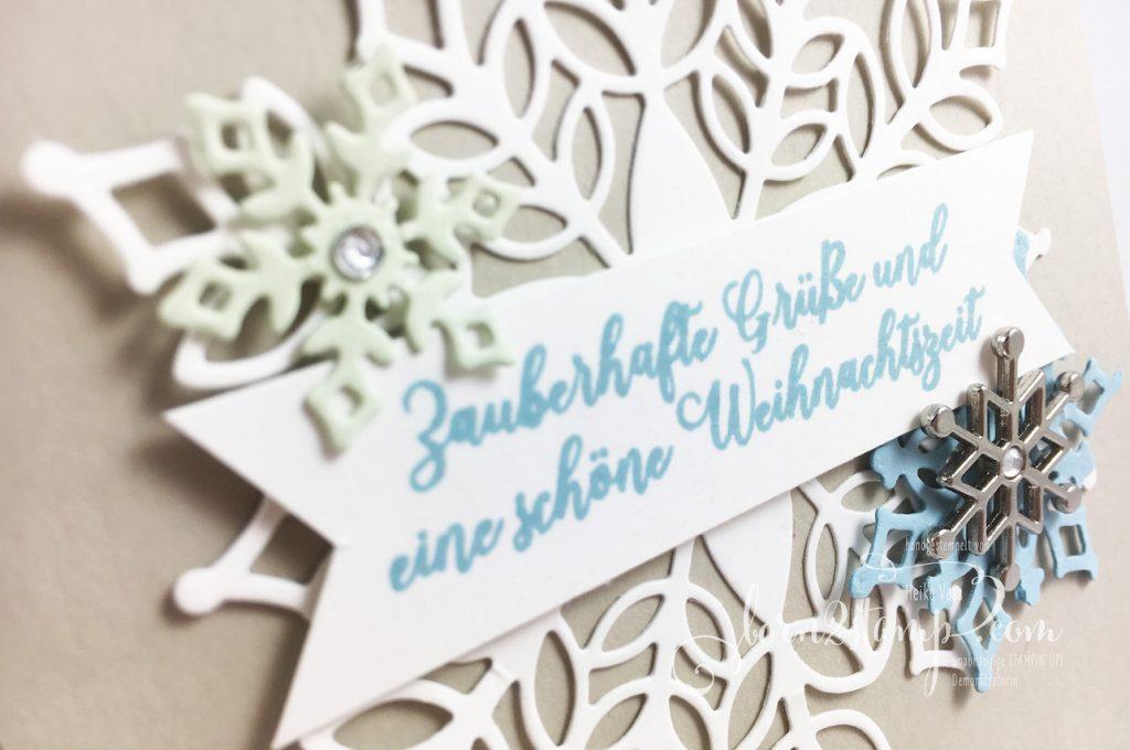 born2stamp INKSPIRE_me STAMPIN' UP! Weihnachtskarte - Wintermärchen - Big Shot Schneegestöber - Accessoires Schneeflocke