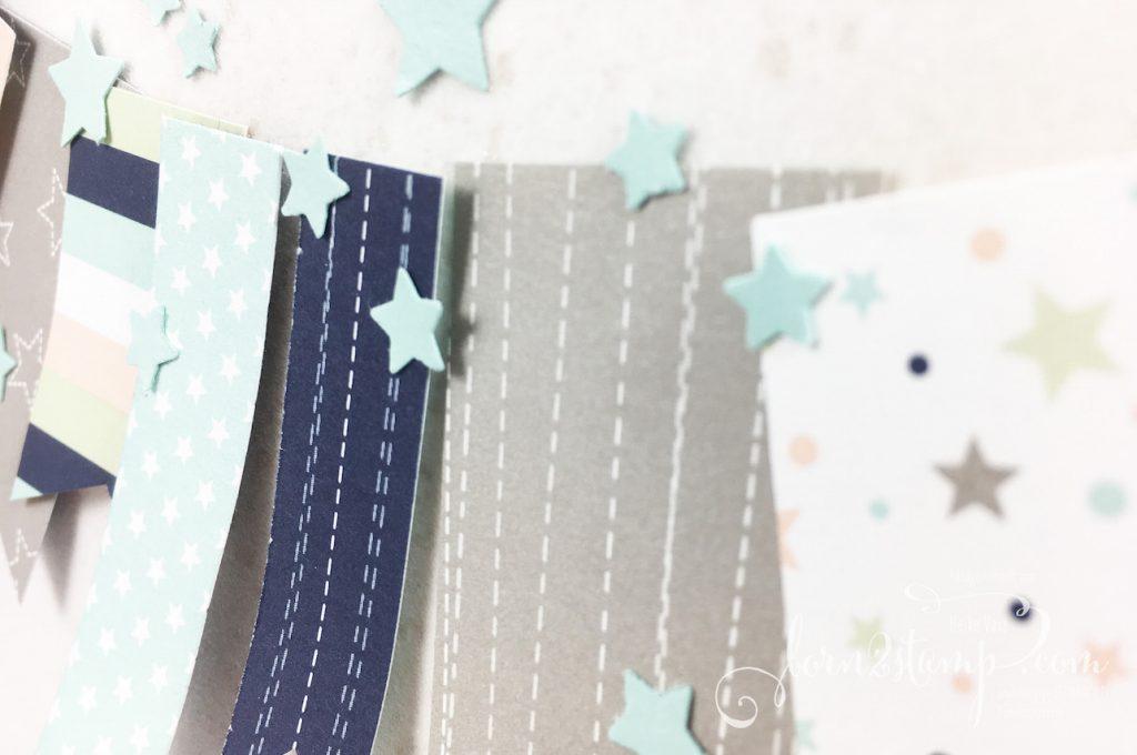 born2stamp STAMPIN' UP! INKSPIRE_me - Karte zur Geburt - DSP Sternenhimmel - Klitzekleine Gruesse - Glanzfarbe - Mond und Sterne Elementstanze