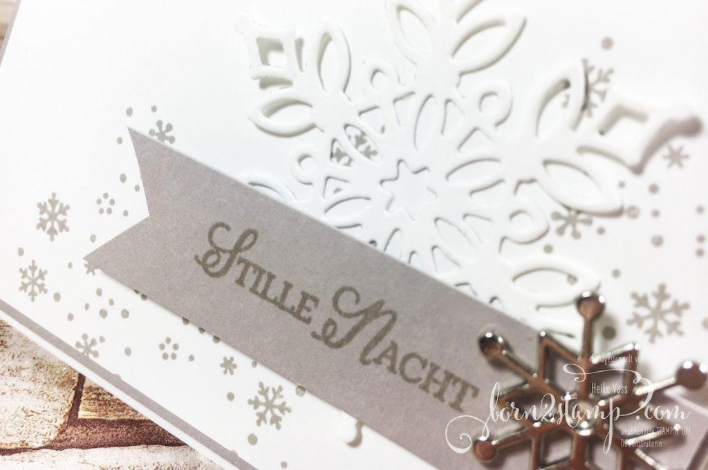 born2stamp STAMPIN' UP! Stempelnd durchs Jahr - Weihnachtskarte - Wintermärchen - Thinlits Schneegestoeber - Accessoires Schneeflocke
