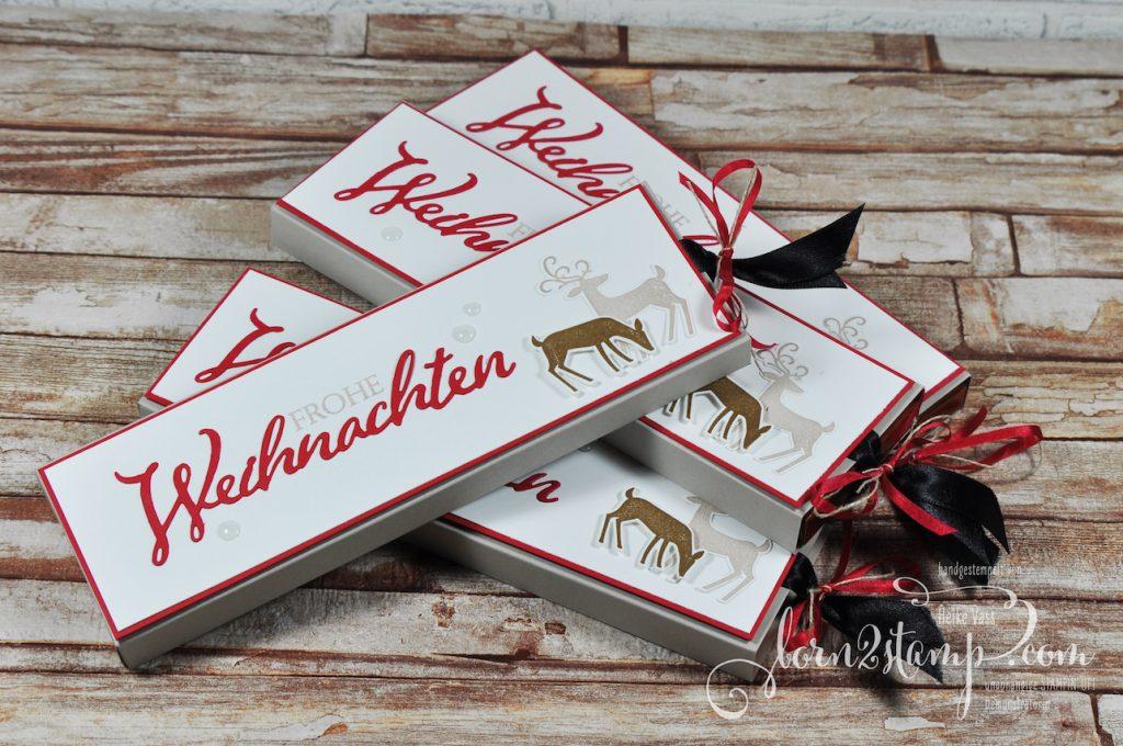 born2stamp STAMPIN' UP! December INKSPIRATION - Ziehverpackung - Weihnachtliche Vielfalt - Weihnachtshirsch - Satinband
