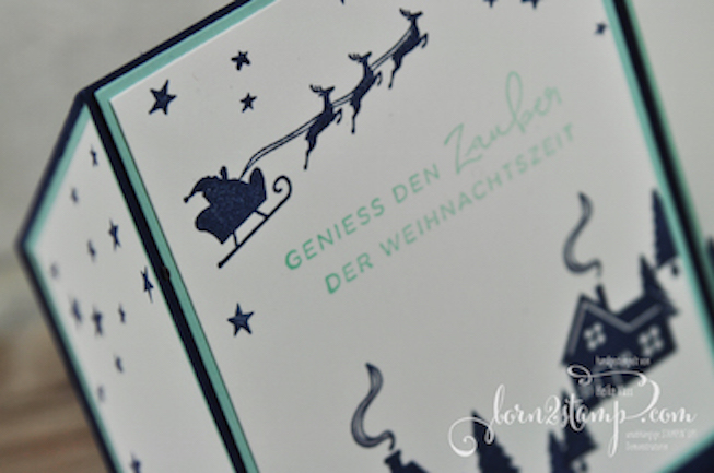 born2stamp STAMPIN' UP! Stamping Technique to try - Free standing pop-up card - Weihnachtskarte - Weihnachten daheim - Stanz-Box Weihnachtstraditionen