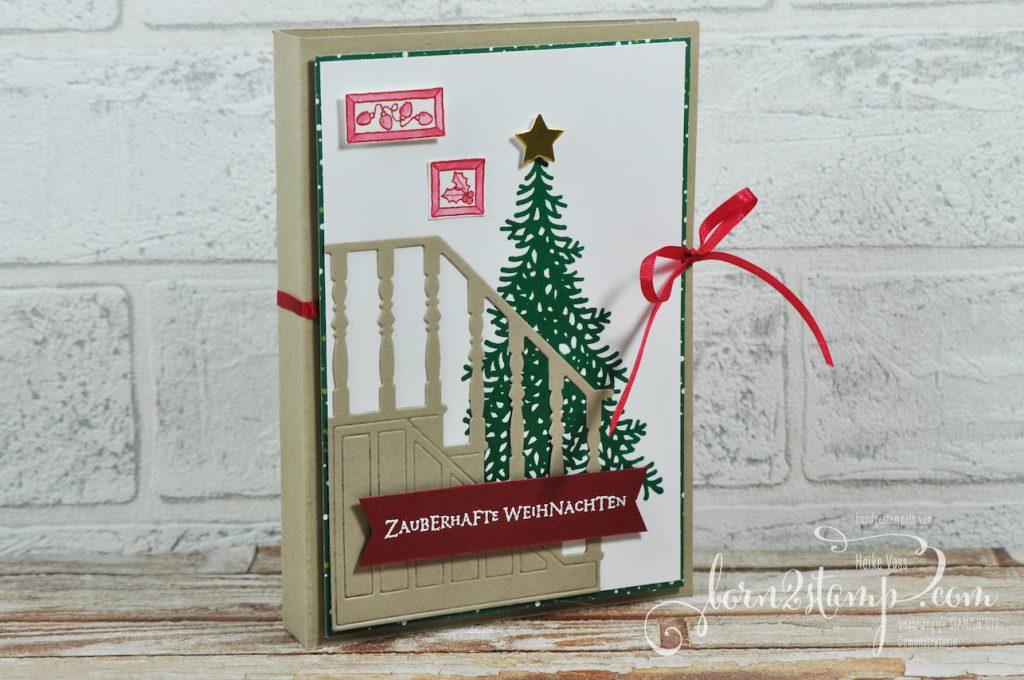 born2stamp STAMPIN' UP! Stempelnd durchs Jahr Warten auf den Weihnachtsmann - Weihnachtskarte - DSP Weihnachtsfreuden - Flockenfantasie - Vorfreude - Big Shot Weihnachtliche Treppe