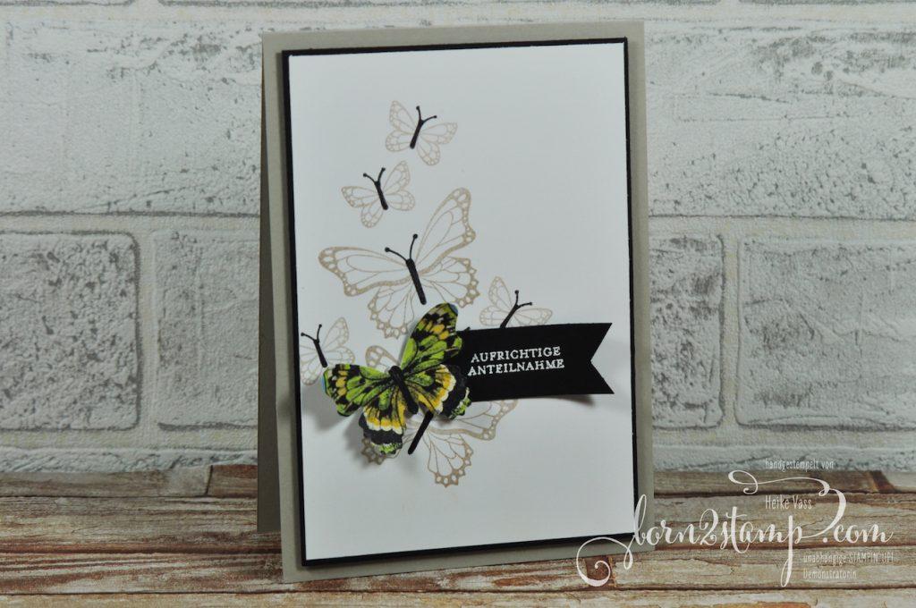 born2stamp STAMPIN' UP! Trauerkarten - Schmetterlingsglueck - DSP Schmetterlingsvielfalt - Klitzekleine Wuensche