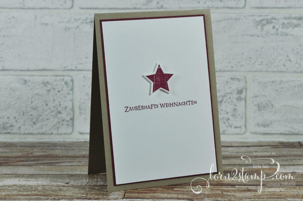 born2stamp STAMPIN' UP! Weihnachtskarte - Aus der Kreativkiste - Big Shot Holzkiste - Flockenfantasie