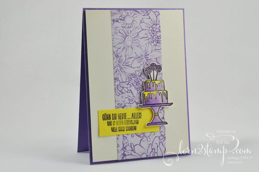 born2stamp STAMPIN' UP! IN{K}SPIRE_me - Geburtstagskarte - Kuchen ist die Antwort - Stampin' Blends