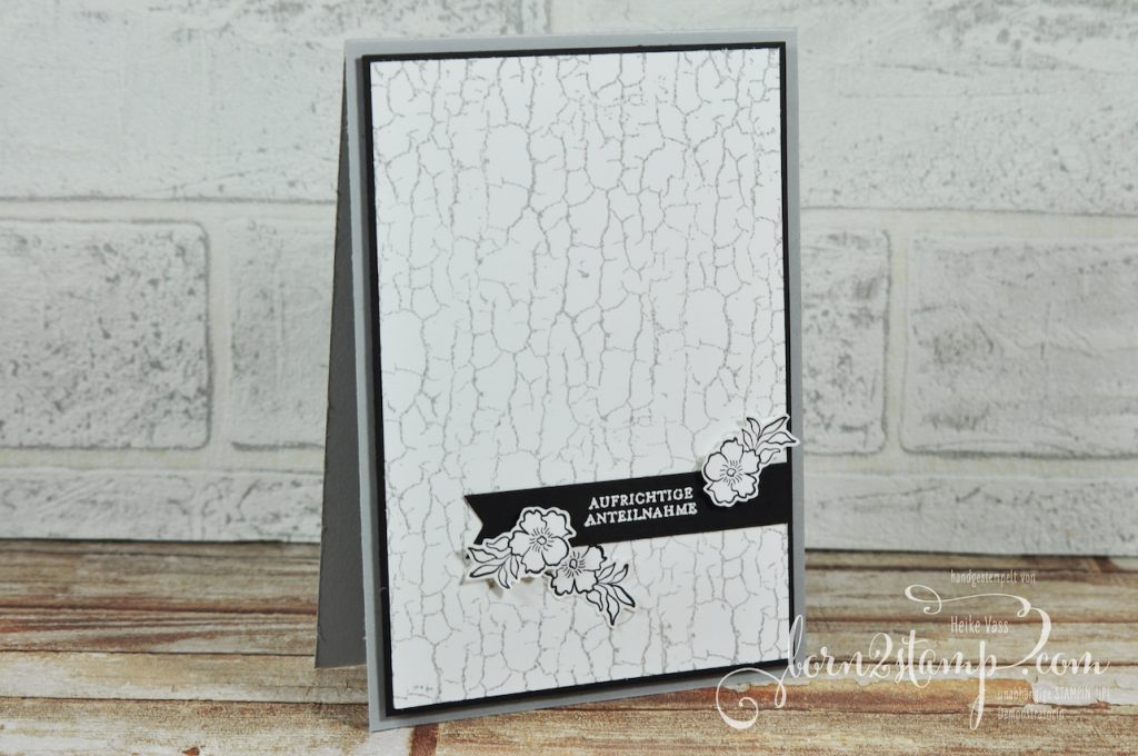 born2stamp STAMPIN' UP! Stempelnd durchs Jahr - Trauerkarte - Crackle Paint - Lovely Lattice - Klitzekleine Gruesse