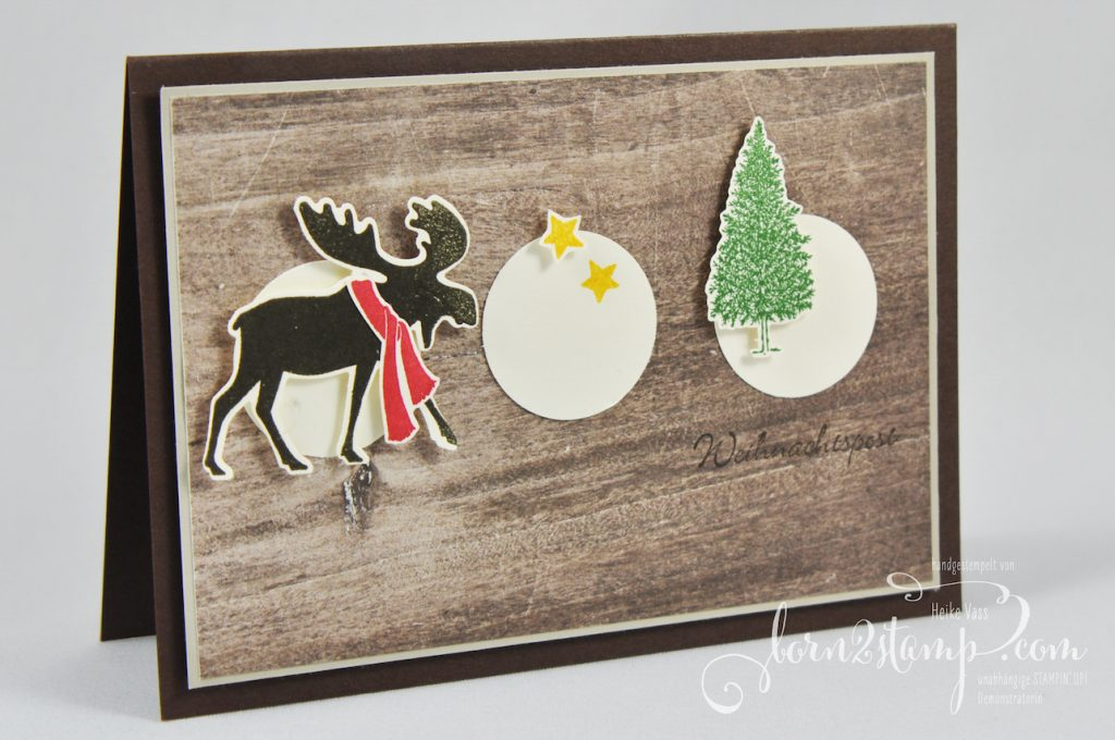 born2stamp STAMPIN' UP! INKSPIRE_me - Weihnachtskarte - Merry Moose - Stanze Elch