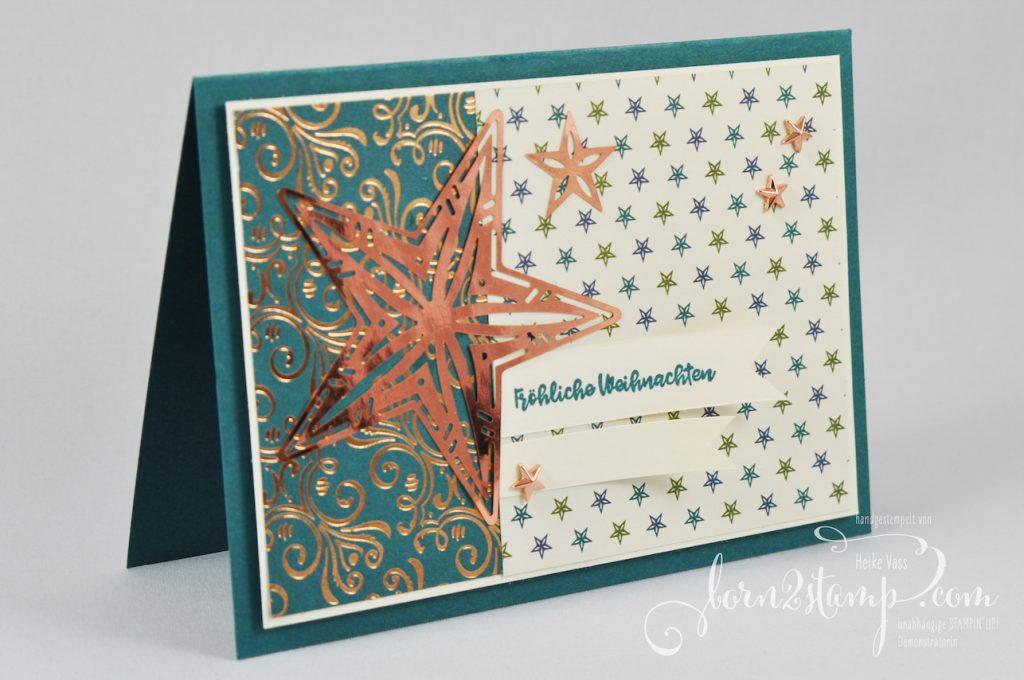 born2stamp STAMPIN' UP! INKSPIRE_me Weihnachtskarte - Weihnachtsmix - DSP Im schoensten Glanz - Metallic Akzente Im schoenen Glanz - Designerakzente Sterne
