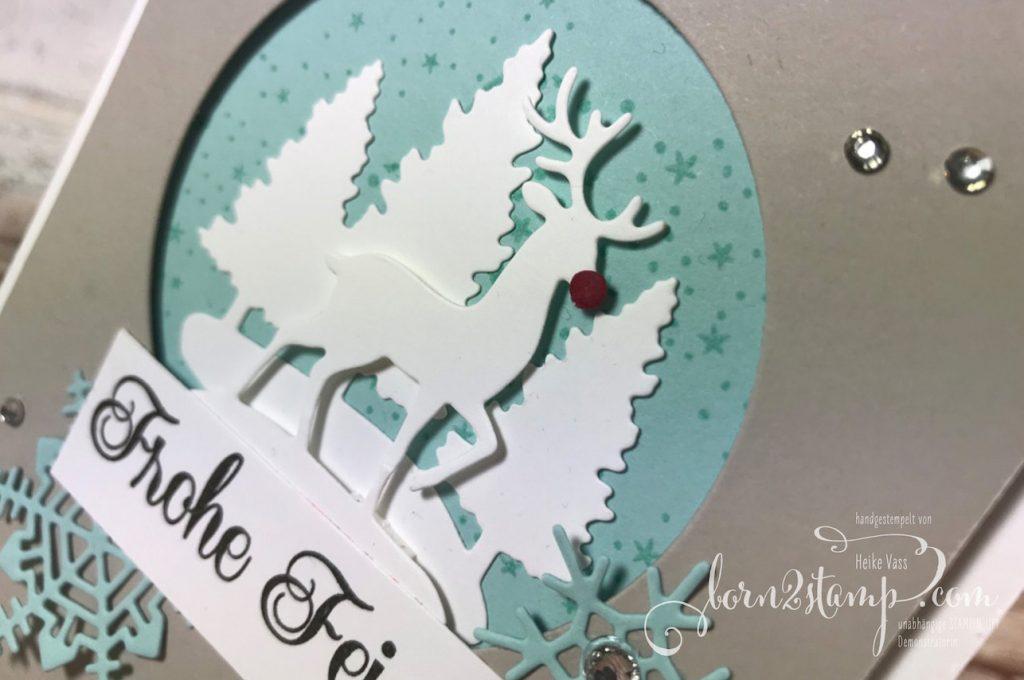 born2stamp STAMPIN' UP! Weihnachtskarte - Still Scenes - Sternenglanz - Stanzform Schneekugel - Thinlits Aus jeder Jahreszeit