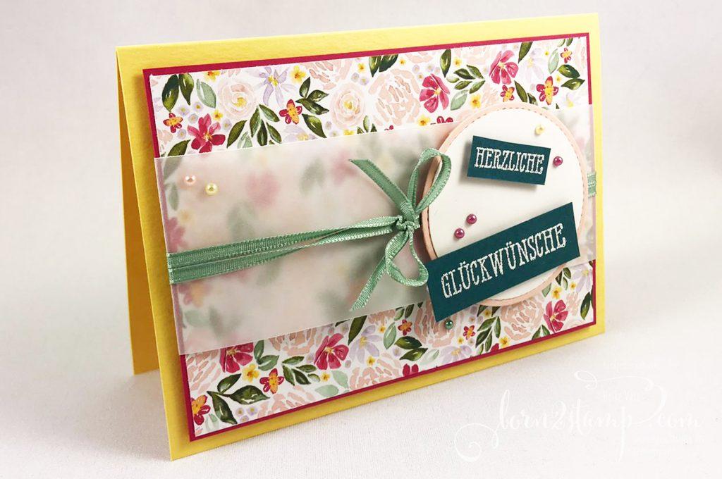 born2stamp INKSPIRE_me STAMPIN UP Geburtstagskarte - Gut gesagt - Feines Leinenband - Kreisstanze - Stanzformen Stickmuster