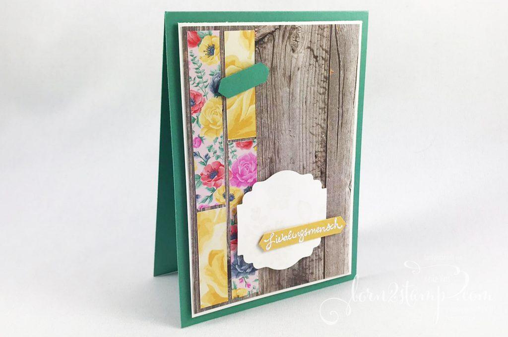 born2stamp Stampin' UP! INKSPIRE_me Karte - Zauberhafte Gruesse - DSP Blumen fuer jede Jahreszeit - DSP Ganz mein Geschmack - Entzueckendes Etikett - Klassisches Etikett