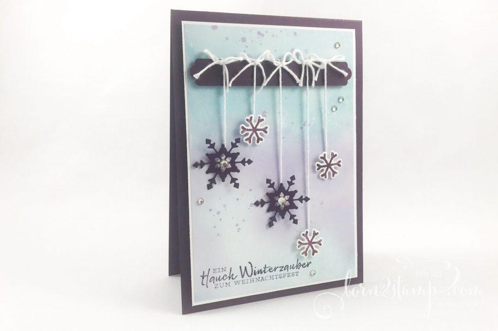 born2stamp STAMPIN UP INKSPIRE_me - Weihnachtskarte - Schneeflockenwuensche - Stanzform So viele Flocken - DSP Schneeflockentraum - Stanze Allerliebste Anhänger