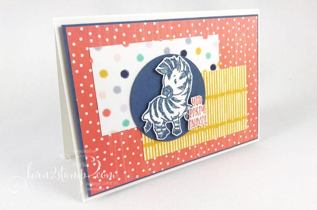 born2stamp STAMPIN UP Inkspire me - Geburtstagskarte - Zany Zebras - DSP Jede Menge Muster