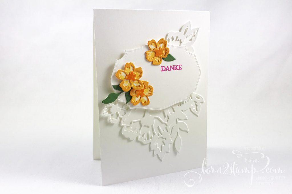 born2stamp INKSPIRE_me STAMPIN UP Dankeskarte - Blumengruss - Stanzformen Blumenzierde - Stanzformen Etiketten mit Stil