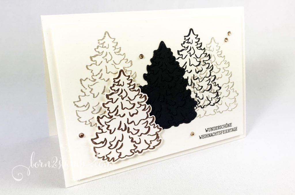 born2stamp STAMPIN UP INKSPIRE me Weihnachtskarte - Zur Weihnachtszeit - Basic Strass in Champagner
