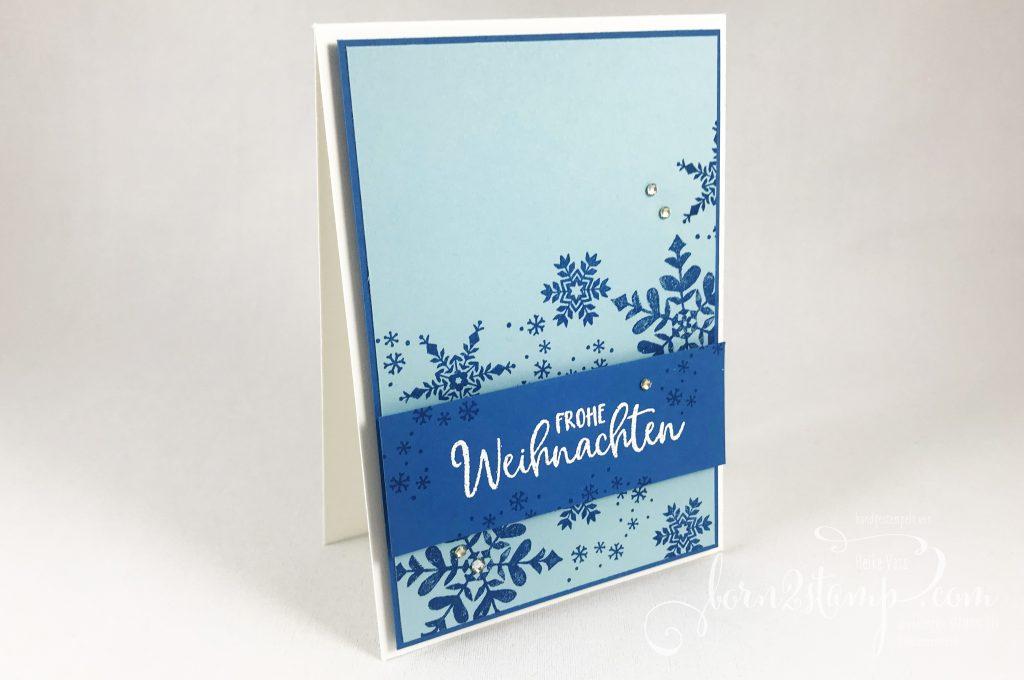 born2stamp INKSPIRE me STAMPIN UP Weihnachtskarte - Schneeflockenwuensche