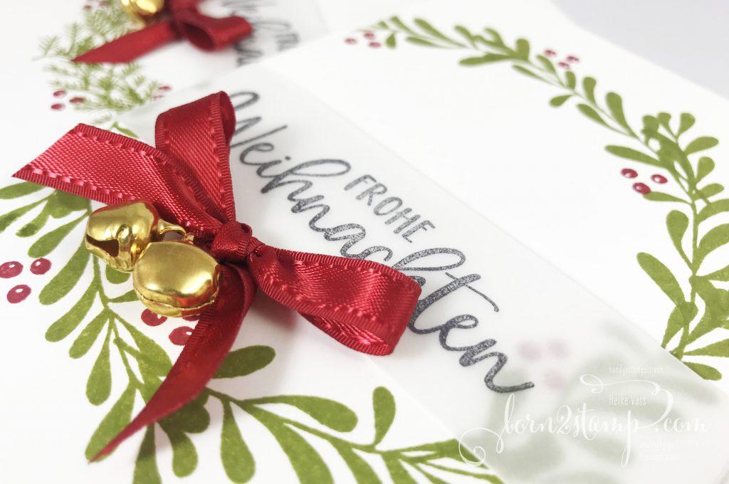 born2stamp Stampin' UP! INKSPIRE me Weihnachtskarte - Geschwungene Weihnachten - Paper Pumpkin - Feiertage voller Freude