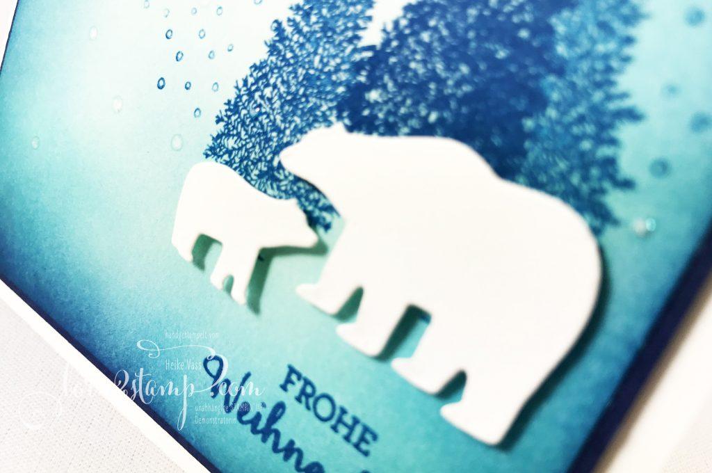 born2stamp Stampin up INKSPIRE me Weihnachtskarte - Blendin-Pinsel - Stanzformen Schneekugel - Wink of Stella - Merry Moose
