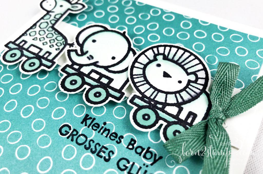 born2stamp STAMPIN UP INKSPIRE me Babykarte - Verspieltes zur Geburt - Geschenkband InColor