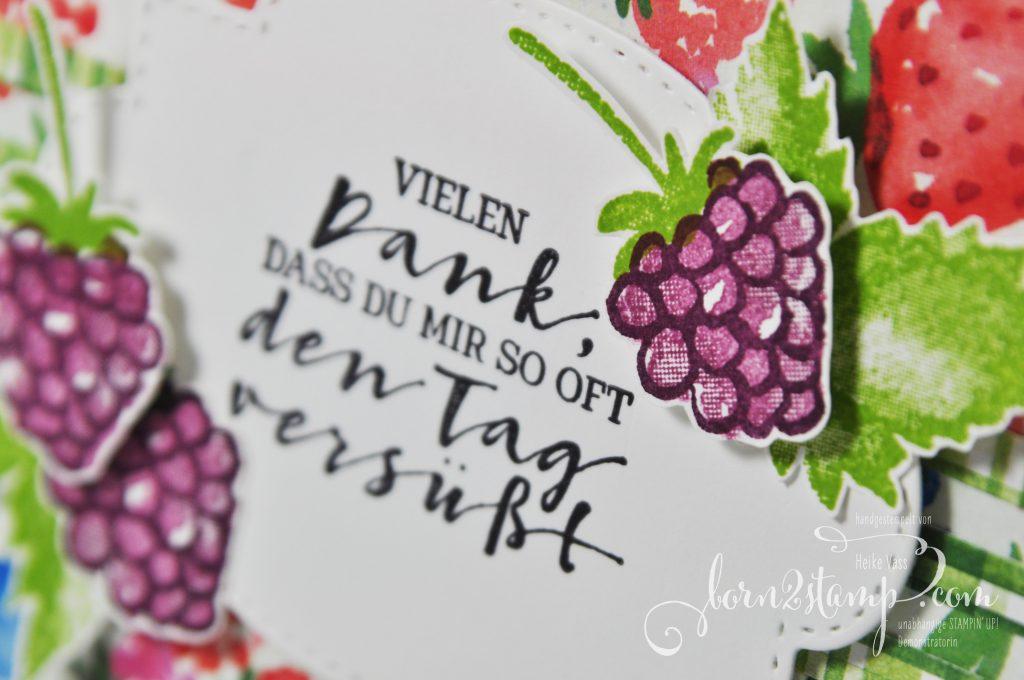 born2stamp INKSPIRE me STAMPIN UP Grusskarte - Fruchtige Grüsse - DSP Sommerbeeren - Stanzformen So hübsch bestickt