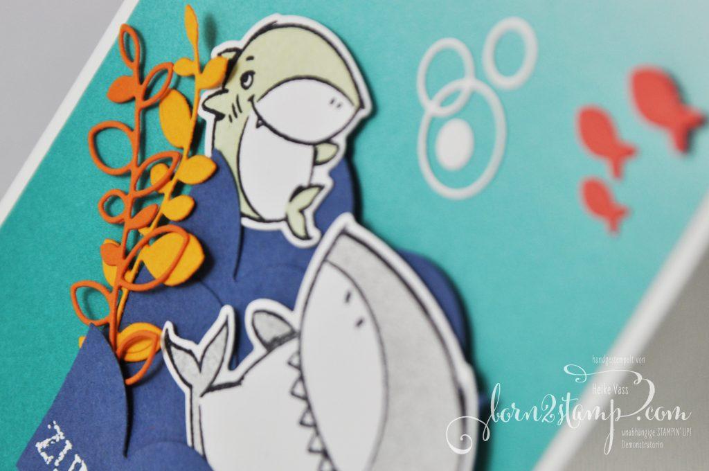 born2stamp INKSPIRE_me STAMPIN UP - Geburtstagskarte - Shark Frenzy - Blumengruss - Stanzformen Hai