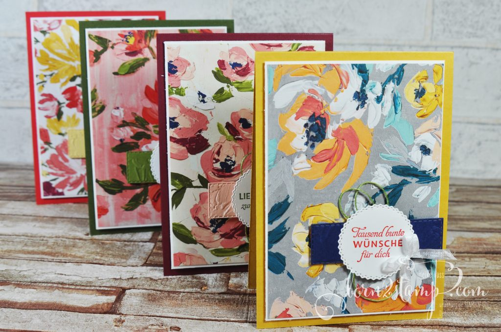 born2stamp Stempelnd durchs Jahr STAMPIN UP - Geburtstagskarte - DSP Kunstvoll floral - Schwärme voll Glück - Strukturputz - Bestickte Rechtecke - Etiketten mit Stil