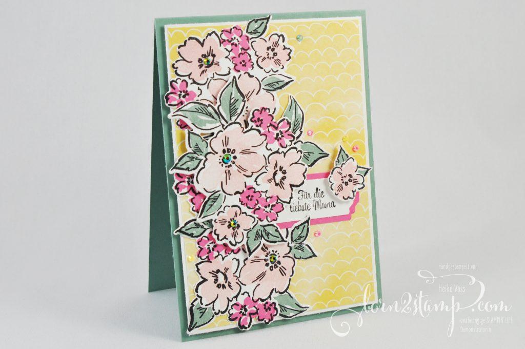 born2stamp INKSPIRE me STAMPIN UP Muttertagskarte - Handgemalte Blüten - Klitzekleine Grüße - Stanze Allerliebste Anhänger