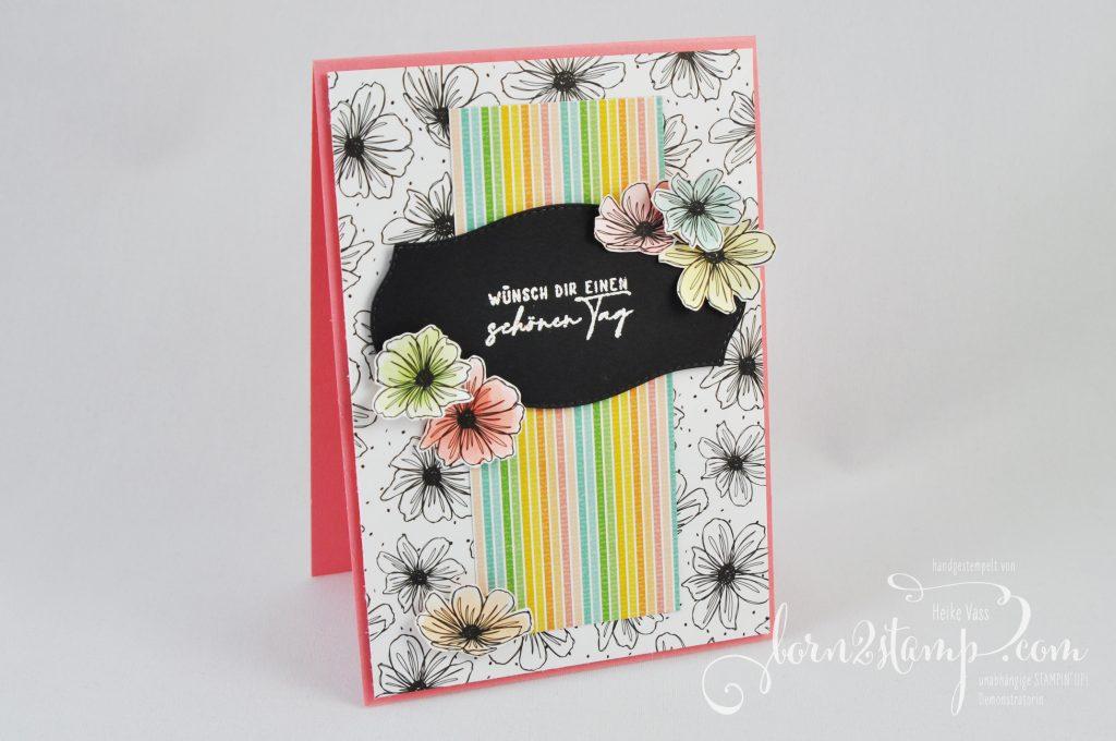 born2stamp INKSPIRE me STAMPIN UP - Karte - DSP Mustermix - Handgemalte Blüten - Stanzformen Etiketten mit Stil