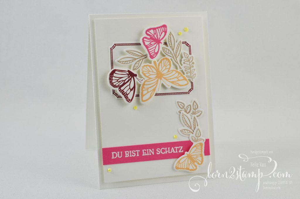 born2stamp INKSPIRE me STAMPIN UP Karte - Floating and Fluttering - Blumengruss - Stanzformen Schöner Schwarm