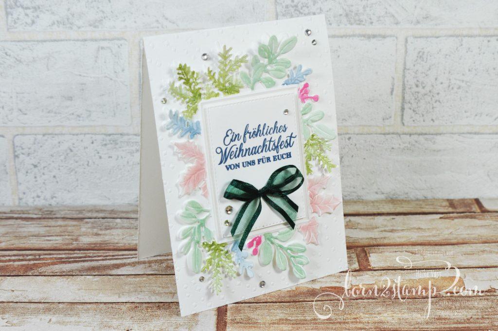 born2stamp Stempelnd durchs Jahr STAMPIN UP Weihnachtskarte Fröhliche Weihnachtszeit - Stanzform Festlich eingerahmt - Embossing Folder Festlich eingerahmt